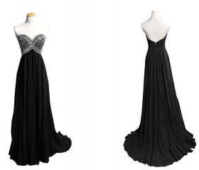 Beaded Black Prom Dress Strapless A-line Sweetheart Backless Zipper Long Formal/Evening/Party Dresses